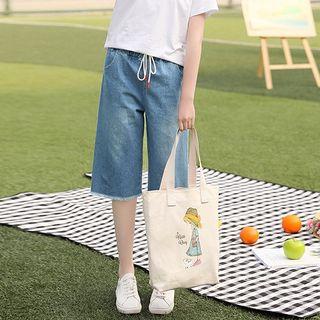YICON - 套裝: 短袖T裇 + 六分寬腿牛仔褲