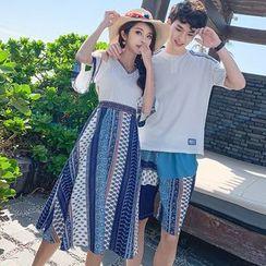 Azure - Couple Matching Elbow-Sleeve Striped Midi Dress / Shorts / T-Shirt