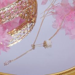 True Glam(トゥルーグラム) - Freshwater Pearl Shell Rose Pendant Necklace