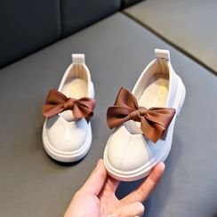 Doradas - Kids Bow-Accent Round-Toe Faux-Leather Flats