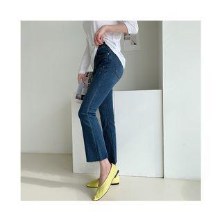 NANING9 - Frayed Semi Boot-Cut Jeans