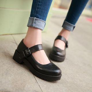 Udin - 仿皮厚底粗跟瑪莉珍鞋