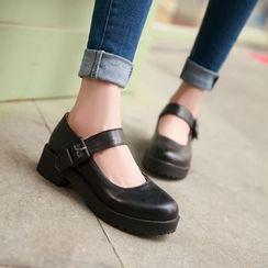 Udin - Faux Leather Platform Block Heel Mary Janes