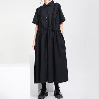 Ultra Modern - Short-Sleeve Midi A-Line Shirt Dress