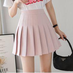 Everose - Pleated Mini A-Line Skirt