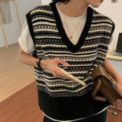 A7 SEVEN(A7セブン) - Patterned Knit Sweater Vest