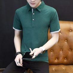 COOLIN - Contrast Trim Short-Sleeve Polo Shirt