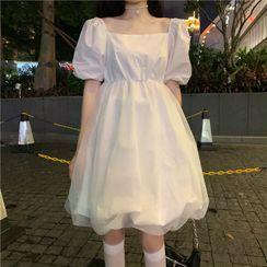 Dreamkura - 泡泡袖純色迷你連衣裙
