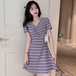 Miss Allurie - Short-Sleeve Striped Mini Dress