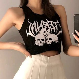 Solvor - Gothic Print Cropped Tank Top