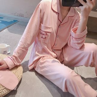 Dreamdazz - Pajama Set: Letter Embroidered Shirt + Pants