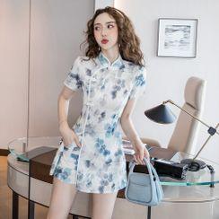 Tanzil - Set: Short-Sleeve Floral Print Mini Qipao Dress + Shorts