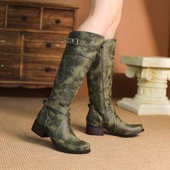Kireina - Buckled Faux Leather Block-Heel Tall Boots