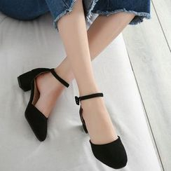 Shoes Galore - Ankle Strap Block Heel Pumps