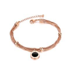 BELEC - Fashion Temperament Plated Rose Gold Roman Numerals Geometric Round 316L Stainless Steel Multi-layer Bracelet