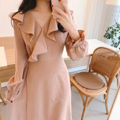 Tangihouse - Ruffle Long-Sleeve Dress