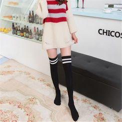 Coshield - Contrast Stripe Thigh-High Socks