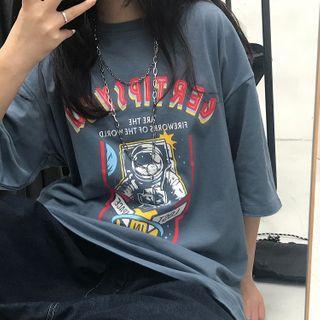 LINSI - Short-Sleeve Astronaut Print T-Shirt
