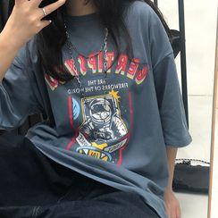 LINSI - 宇宙飛行士プリント半袖Tシャツ
