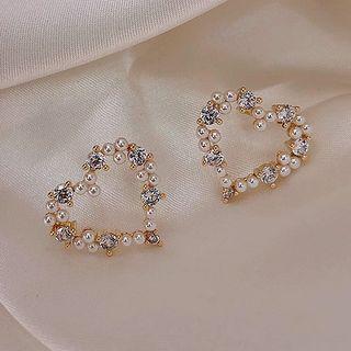 True Glam - Faux Pearl Heart Earring