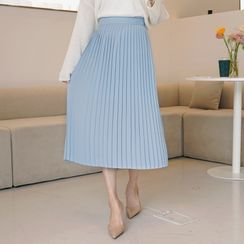 CLICK - Band-Waist Accordion-Pleat Skirt