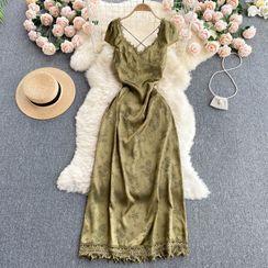 Lucuna - 露背绑带印花蕾丝连衣裙