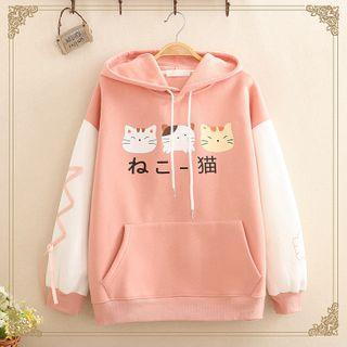 Kawaii Fairyland - Cat Print Color-Block Sleeve Hoodie