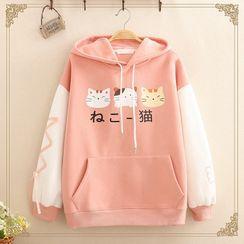 Kawaii Fairyland(カワイイ フェアリーランド) - Cat Print Color-Block Sleeve Hoodie