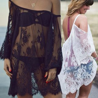 Arconte(アルコンテ) - Cutout Lace Beach Cover-Up