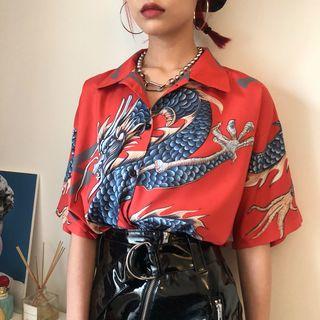 RONIN - Bedrucktes, kurzärmliges Blusen-Shirt mit asiatischem Drachenmotiv