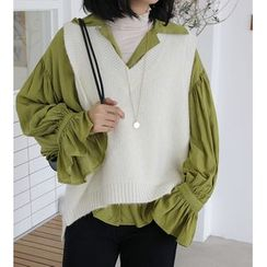Jumporange(ジャンプオレンジ) - Long-Sleeve Frill Trim Shirt