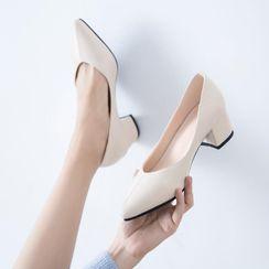 JY Shoes - Pointy-Toe Chunky-Heel Pumps