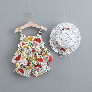 Hecto - Kids Set: Sleeveless Top + Shorts + Sun Hat