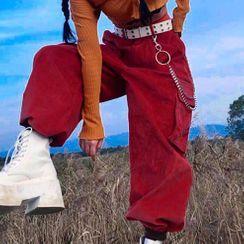 WEEKEND BLOOPERS - Plain High-Waist Corduroy Cargo Pants