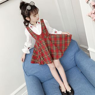 Qin Qin - Kids Set: Long-Sleeve Shirt + Plaid A-Line Pinafore Dress