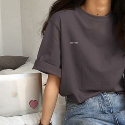 Edise - Lettering Elbow-Sleeve T-Shirt