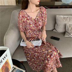Yuxi - Floral Short-Sleeve Midi A-Line Dress