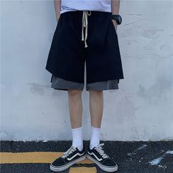 Porstina - Drawstring Waist Mock Two Piece Shorts