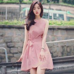 HYAKU - Sleeveless Tie-Waist A-Line Dress