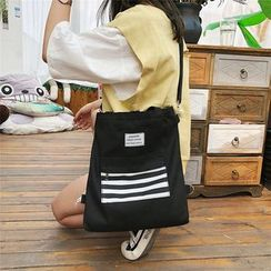 Behere - Striped Panel Canvas Tote Bag