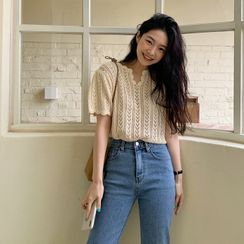 FROMBEGINNING - Scalped Pointelle-Knit Top