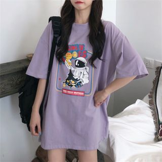 Rhodo - Oversized Cartoon Print Elbow-Sleeve T-Shirt