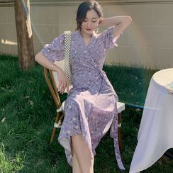 BOHEME - Balloon-Sleeve Floral Print Midi A-Line Dress