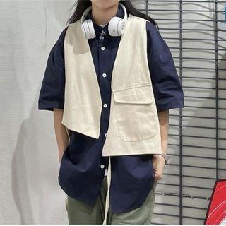 Shineon Studio - 假两件马甲拼接短袖衬衫