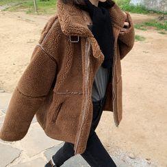 伊之戀 - 仿羊皮拉鏈外套