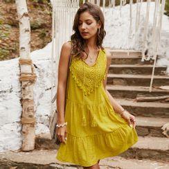 TRUMMENT - Sleeveless Lace Panel Mini A-Line Dress