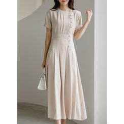 Styleonme - Button-Side Pleated Maxi Dress