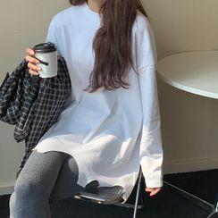 merryberry - Long-Sleeve Irregular Hem T-Shirt