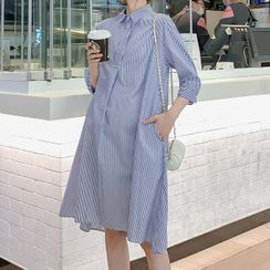 Hiccup - 孕妇中袖条纹A字衬衫裙