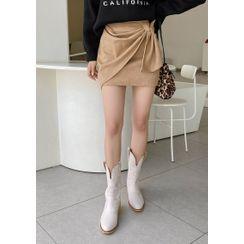 chuu - Drape-Front Suedette Miniskirt